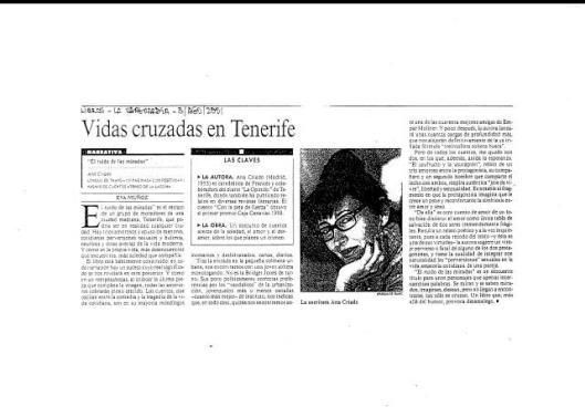 Eva Muñoz La Vanguardia Suplemento Lbiros Libro Ana Criado Reseña