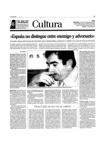 Eva Muñoz La Razón Cultura Entrevista a Antonio Muñoz Molina