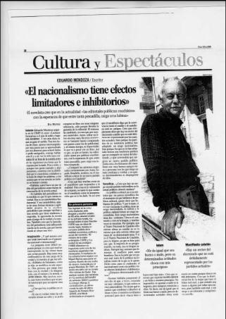 Eva Muñoz La Razón Cultura Eduardo Mendoza Entrevista