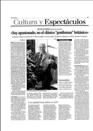 Eva Muñoz La Razón Cultura y Espectáculos Entrevista Sir Colin Davis