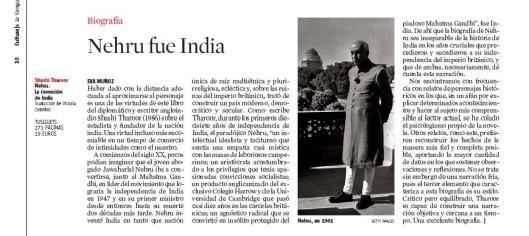 Eva Muñoz La Vanguardia Culturas Biografía Nehru Shashi Tharoor