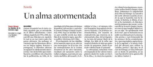 Eva Muñoz La Vanguardia Culturas Donato Nodongo Novela Reseña
