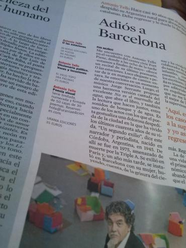 Eva Muñoz Culturas La Vanguardia artículo Adiós a Barcelona Antonio Tello