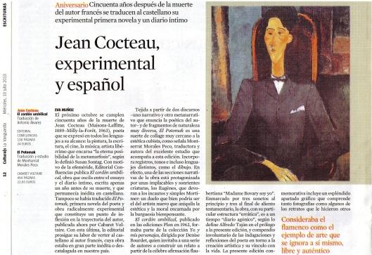 Artículo Jean Cocteau Culturas La Vanguardia en blog Eva Muñoz