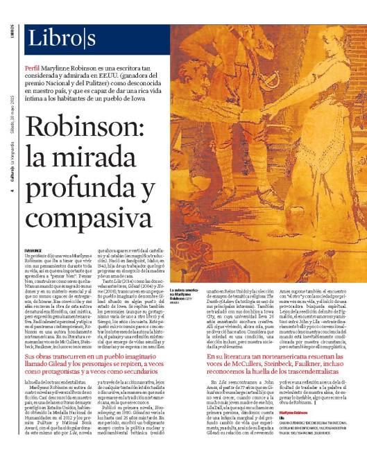 Marylinne Robinson en Eva Muñoz periodista, escritora y creadora de contendios